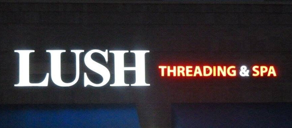 Lighted sign for Lush Threading & Spa