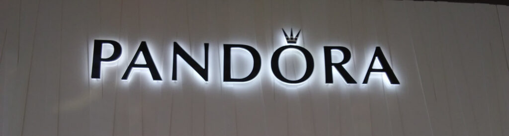Sign for Pandora with Reverse Channel Letters Halo Effect